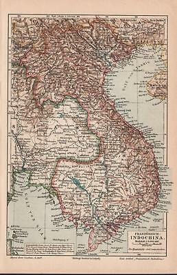 Antique map. ASIA. INDOCHINA. ANNAM OR VIETNAM. 1905