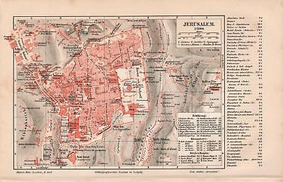 Antique map. CITY PLAN OF JERUSALEM. 1905