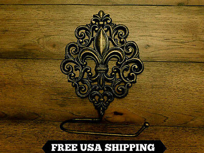 Toilet Paper Holder, Fleur de Lis, Iron, Old World, Medieval, Baroque, French