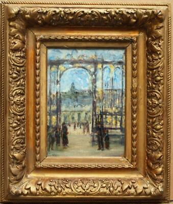 19th Century FRENCH IMPRESSIONIST STREET SCENE FIGURES Antique Oil Painting