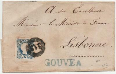PORTUGAL: 1856 25 Reis Blue Example on Wrapper to Lisbon - Cancel (22342)