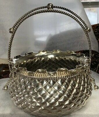 Victorian Meriden Silver Co Quadruple Plate Silver Plate Basket Nut Bowl Bridal