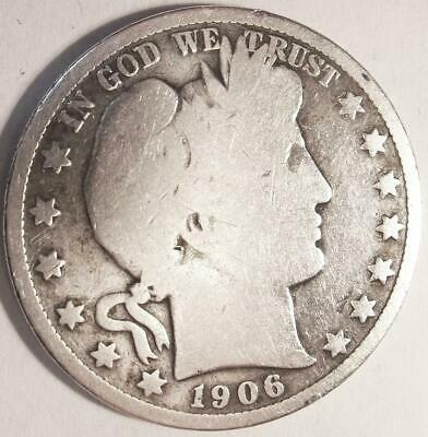 Free Shipping  1906   US Barber  HALF DOLLAR 50 cent bullion circulated L537