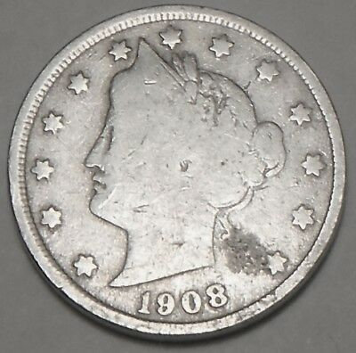 Free Shipping 1908 Liberty V Nickel  5 cent coin used , old ,vintage  L965