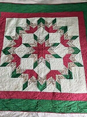"""Vintage Feedsack Quilt  67"""" x 65""""  Near Perfect Condition"""