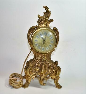 VTG Renaissance Cast Iron or spelter Bronze Color Electric Mantle Clock Empire