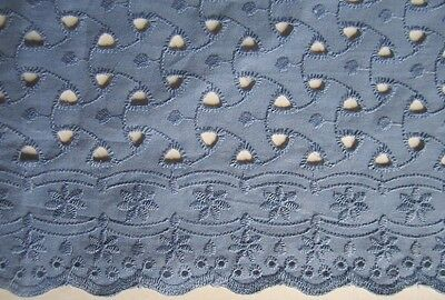Wonderful Piece of Vintage Dusty Blue Eyelet Lace To Doll Up Your Dolly