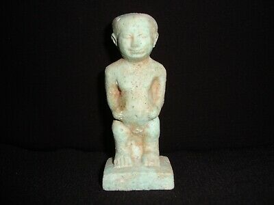 Rare Antique Ancient Egyptian Egypt Faience Amulet Of Pataikos 300 - 600 Bc