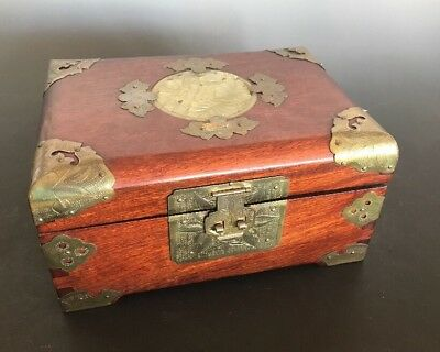 Asian Vintage Wood Jewelry Box Chest Jade Insert  with Brass Fittings Ring Tray