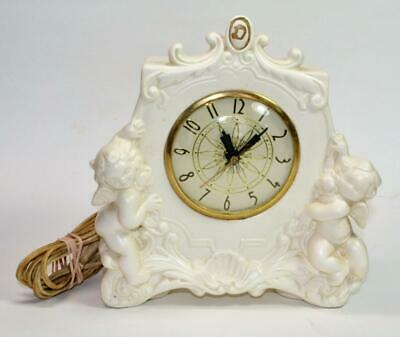 VTG Lanshire Baroque Style White Ceramic Electric Mantle Clock with 2 cherubs
