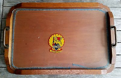 Vintage Retro Wooden Serving Tray With Glass Top Demons Vfl Sticker Drinks Bar
