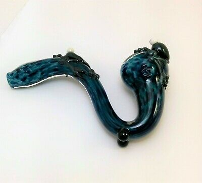 Glass Tobacco Smoking Pipe - Blue Speckled Standup Sherlock - Made in Colo, USA