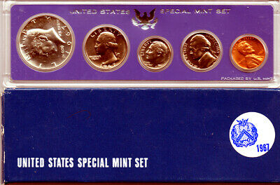 1967 US SPECIAL MINT SET Kennedy Half Dollar is 40% Silver 5-Coin Set