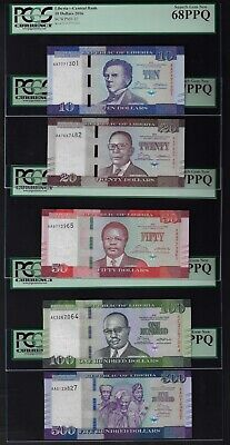 Liberia 5 Notes 10-20-50-100-500 Dollars 2016 P32-33-34-35-36 Uncirculated