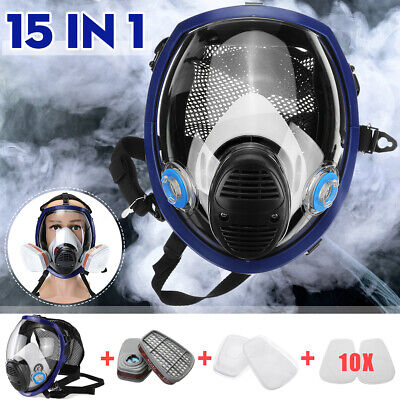 15 in 1 Full Face Gas Mask 6800 Dust Painting Spray Protective Cartridge Cover