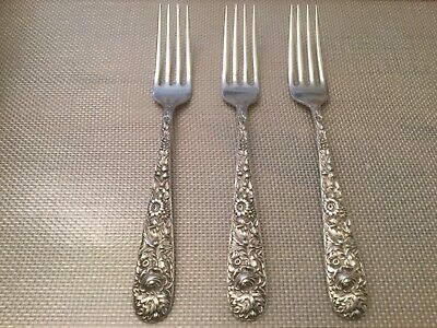Three (3) Sterling Silver S. KIRK & SON Fork Repousse Pattern 1828