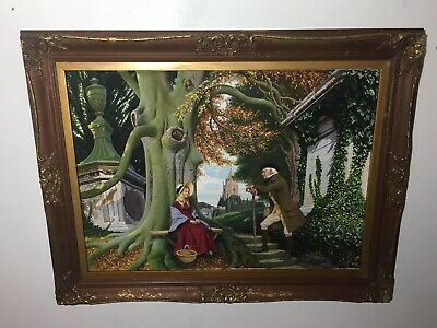 Rare Exquisite Painting 19th Century Figures. In Antique  Frame- Signed & Dated