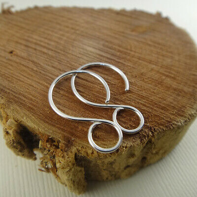 Earring hook, sterling silver ear wires, short with big loop for jewelry making