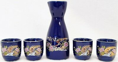 5 Piece Porcelain Sake Set With Box Decanter & 4 Cups Included A7049