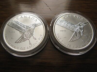 """(2) 2015 Canada """"Birds of Prey Series"""" Red-Tailed Hawk .9999 Silver 1oz $5 Coins"""