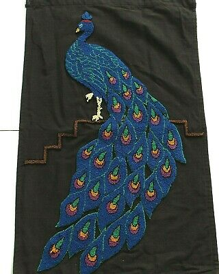 Large Crewel Peacock Panel Blue on Black Completed Fiber Art