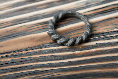 Rare Ancient Viking Twisted Bronze Ring 9th-11th century AD Pagan Unique Jewelry