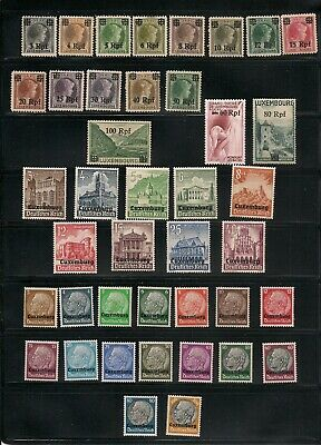 GERMANY 1940-1 LUXEMBOURG OCCUPATION STAMPS Sc N1-N16, N17-32, NB1-NB9 MINT