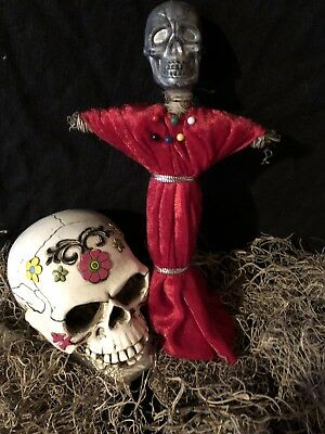 Authentic Voodoo Doll Red/grey-With Pins