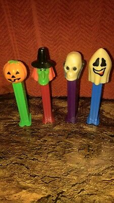 PEZ Dispensers Halloween Lot of 5 Witch Ghost Pumpkin Skull Candy Dispensers