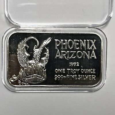 1972 Phoenix Arizona Bird High Relief 1 Troy Oz .999 Fine Silver Bar Ingot Medal