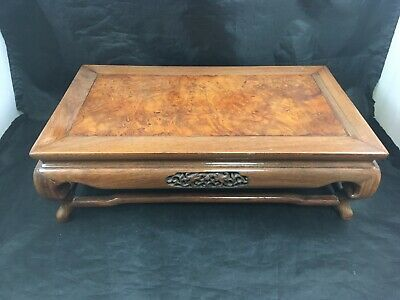 Antique Chinese Burl Carved Wooden Stand Tea Table Display Stand