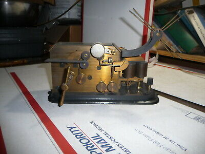 Very Early JH Bunnell Telegraph Recorder Brass and Glass