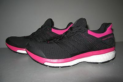 ad7a07bf55378 Womens Adidas Boost SUPERNOVA GLIDE 8 Black Running Shoes AF6557 Size 9.5  Pink