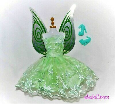 Barbie Doll Tinker Bell Disney Fairy Replacement Wings Dress Shoes Set GREEN