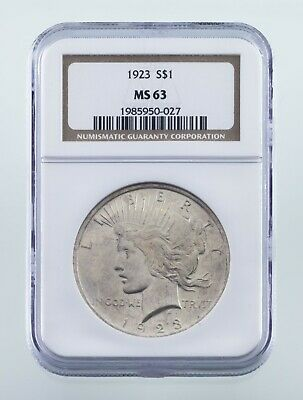 1923 $1 Silver Peace Dollar Graded by NGC as MS-63! Nice Coin!
