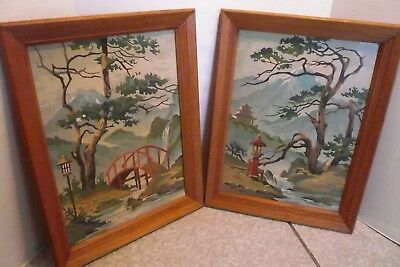 Pair Vintage Paint By Number Asian Scenes Pagoda Bridge Lanterns + Oak Frames