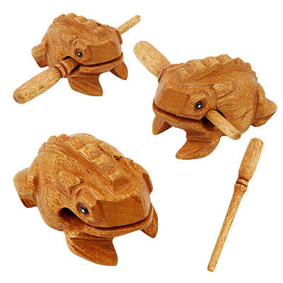 Frog Carved Wooden Croaking Musical Instrument With Stick Handcrafted Gift KS