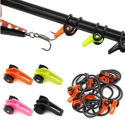 30 Pcs/set Fishing Rod Secure Hook Keeper Holder Lures Jig With Rubber Rings