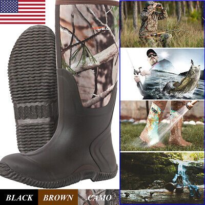 HISEA Men's Rubber Neoprene Hunting Boots Waterproof Insulated Muck Mud Boots