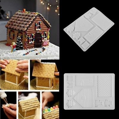 Christmas House Fondant Mold Cake Decorating Candy Chocolate Baking Moulds Tools