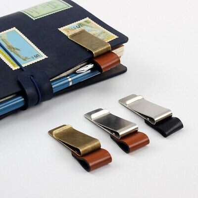 Metal Notebook Holder Stainless Steel Clips Handmade Leather Brass Pen Folder