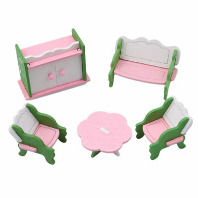 New Doll House Miniature Living Room Wooden Furniture Set Kid Pretend Play Toy Q