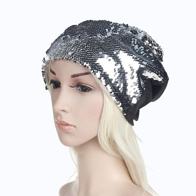 Fashion Caps Bright Sequins Turban Colorful Caps Hats Knitted Crochet Hat Women