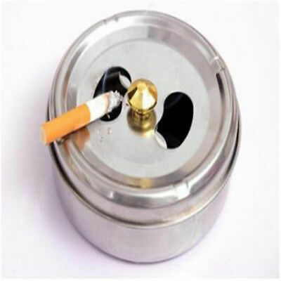 Stainless Steel Round Ashtray With Lid Cigarette Smoking Ash Container Pop QP