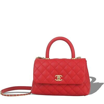 4998060150b363 Rare Chanel Mini Coco Handle Red Caviar Classic Double Flap Bag Boy Aged Ghw