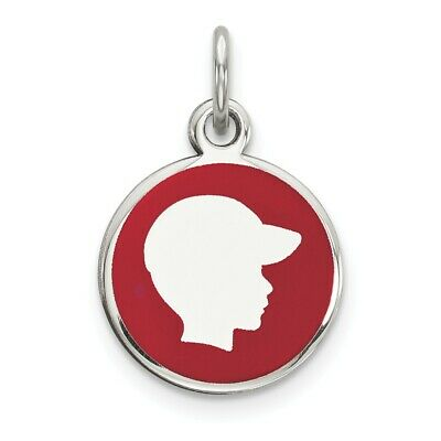 Sterling Silver Rhod-plate Red Enamel Right Facing Boy Head Disc Charm Pendant
