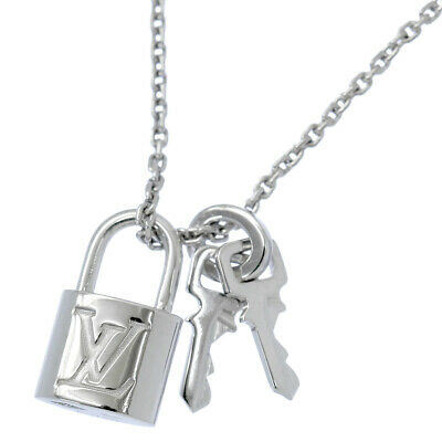 e7b75d806 Auth LOUIS VUITTON Lock It Pendant Necklace K18 18K 750 WG White Gold  90067060
