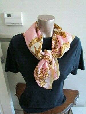 Silk Scarf Print  Floral  Abstract  yellow  Mustard Pink