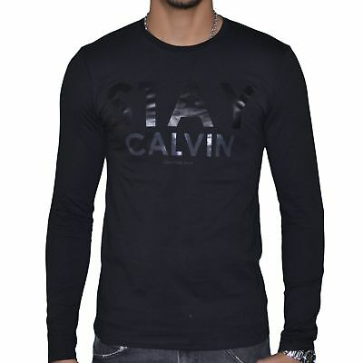 Klein Noir S Neuf Taille Longues T Homme Calvin Shirt Manches WYe2bEDH9I