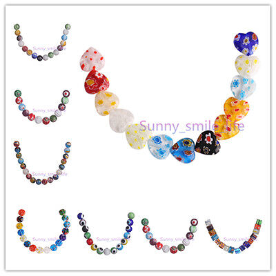 Multi-Color Flower Millefiori Glass Loose Spacer Beads 50pcs DIY Jewelry Finding